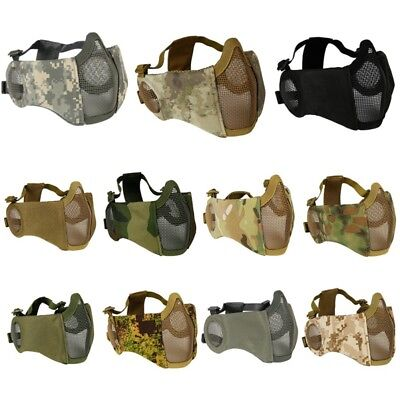 Airsoft Half Face Mask Steel Wire Mesh Mask Hunting w/ Ear Protection Adjustable