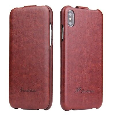 Luxury Vertical Flip Leather Case Ultra Slim Cover For iPhone 8 Plus XS MAX XR E