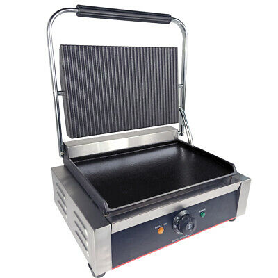 Electric Grooved Panini Press Contact Grill Toaster Sandwich Griddle Machine