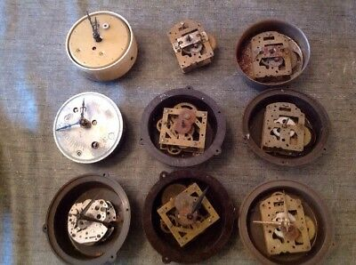 Antique Clock Movements Incl Metemec 8 Day for Restoration And Spare Parts