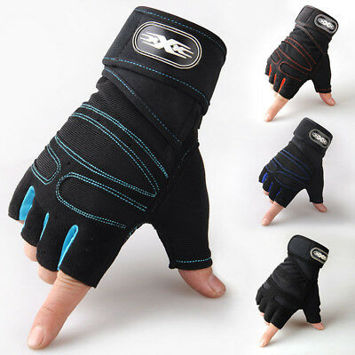 Men Weight Lifting Gloves Exercise Fitness Gym Training Bodybuilding Wrist Strap