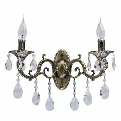 Wandleuchte Classic antique brass color/metal+aluminium alloy transparent /cryst