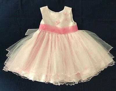 Ladybird Girl's Pink Special Occasion Dress Butterfly Detail Bodice 18-23 Months