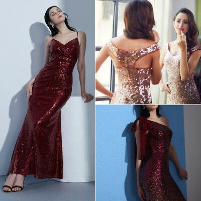 Ever-Pretty Sequins Evening Dress Sequins Sparkly Formal Party Dresses Burgundy