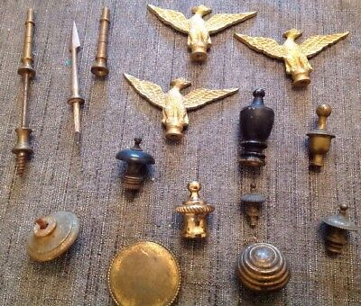 Antique Finials Incl Eagle Spear Beehive From Clockmakers Spare Parts Collection