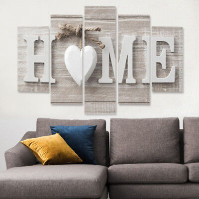 2019 5 Panels Love HOME Wall Art Print Pictures Canvas Painting Room Decor Use