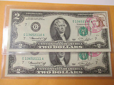 Lot Of 2 1976 $2 Federal Reserve Note First Day Of Issue Taylor,mi