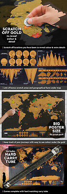 Deluxe Travel World Scratch Map Poster 82.5 x 59.4cm