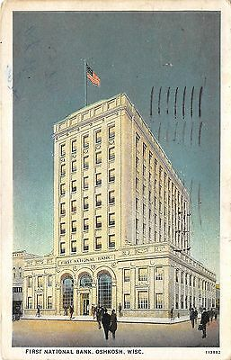 Oshkosh Wisconsin~First National Bank~People Crossing Street~1927 Postcard