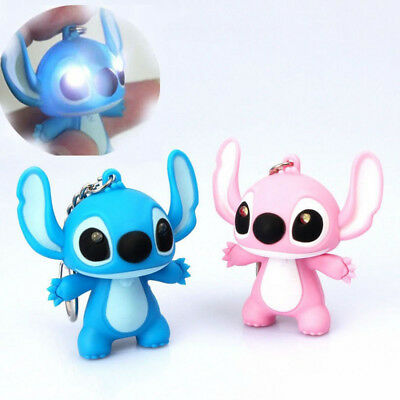 Lilo And Stitch Toys Cartoon Movie Stitch LED Keychains Lighting For Children
