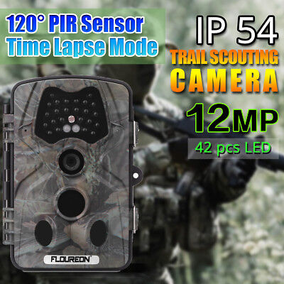 FLOUREON 2.4'' LCD 1080P 12MP HD Caccia Scoutismo Trail Camera Video IR Leds IT