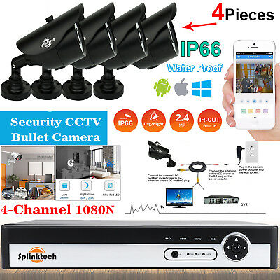 4CH CCTV Video Recording DVR & 4x 2.4MP 1080p Sony Lens Bullet Security Camera