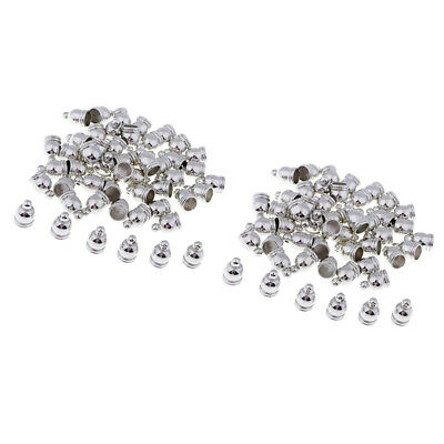 100Pcs Silver Bell Shape End Caps Beads Tassels Charms Pendants Findings