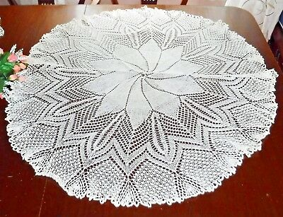 "Antique Knitted Lace Table Topper Doily Ecru Cream Cotton 36"" wide Fine"