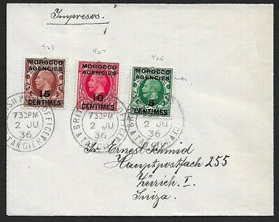 Morocco Agencies KGV 5c, 10c & 15c on 1936 cover Tangier to Switzerland