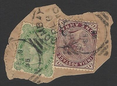 BAHRAIN 1895 pm on India QV 1a plum & 2 1/2a green on piece SG - both unlisted