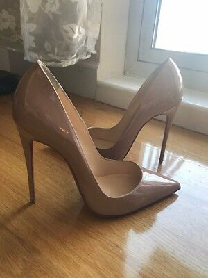 9e840418db66 Christian Louboutin So Kate Nude Patent Leather Pumps Shoes Size 38 1   2