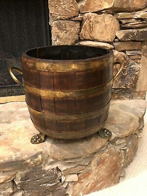 Antique English Victorian Oak Brass Banded Barrel Planter Coal Log Fireplace