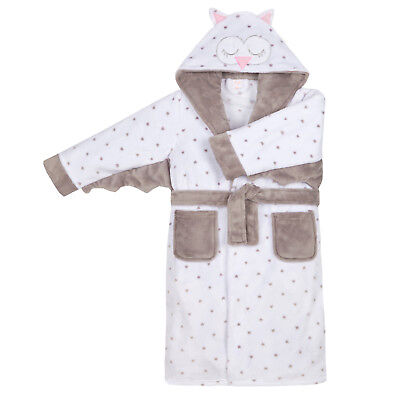 Girls Novelty 3D Owl Dressing Gown Kids Character Hooded Bath Robe House Coat