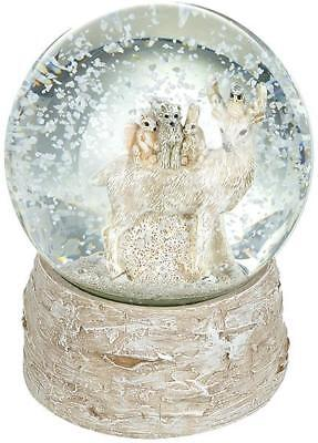 Deer With Friends Christmas Winter Scene Snow Globe on a Wood Effect Base