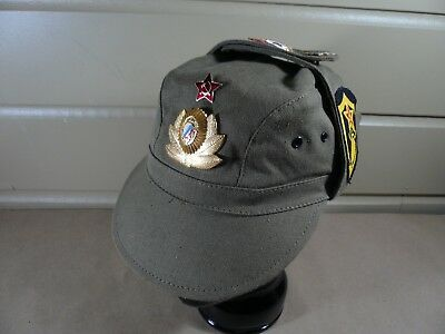 Vintage Russian Military Hat with 11 Pins Badges