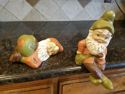 Vintage 1970s Hand Painted Ceramic Garden Gnome Set Lot Statues Sleeping Sitting
