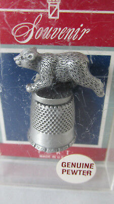 Collectable FORT Pewter Thimble ~ Grizzly Bear ~