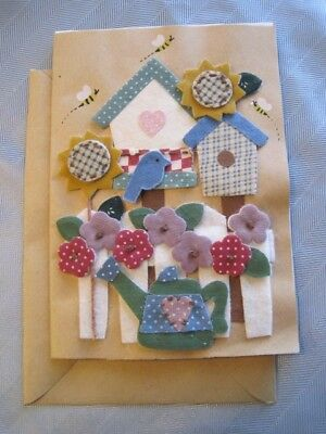 Cut Various Fabrics Handcrafted Blank Note Greeting Card Garden Small