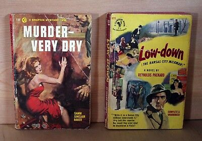 1950's lot of 2 PULP NOVELS paperbacks MURDER VERY DRY and LOW DOWN good readers