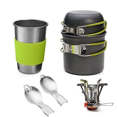 Portable Gas Camping Stove Burner Outdoor Hiking Picnic Pot Bowl Cup Cookware