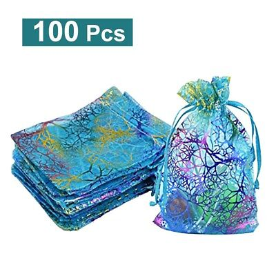 100x Organza Drawstring Gift Jewellery Bags Pouches For Wedding Xmas Party AU