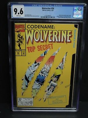 Marvel Wolverine #50 1992 Cgc 9.6 White Pages Die-Cut Cover Partial Origin