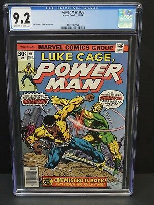 Marvel Comics Power Man #36 1976 Cgc 9.2 Ow/wp Chemistro App. Wilson/janson Cov