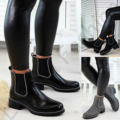 New Womens Chelsea Ankle Boots Studs Chunky Low Heel High Top Ladies Shoes Sizes