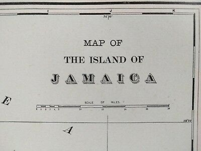 "Vintage 1902 JAMAICA Map 14""x11"" Old Antique Historical KINGSTON MONTEGO MAPZ"