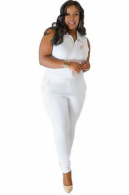 15ef75d6f68ce Poetic Justice Plus Size Curvy Womens White Sleeveless Stretch Collared  Jumpsuit