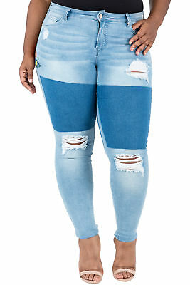 170a54e352a Poetic Justice Plus Size Women s Curvy Fit Patch Embroidered Jegging Skinny  Jean