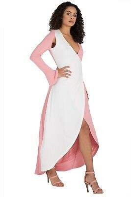 9feb396e8c1 Poetic Justice Curvy Women s Pink   White Flare Sleeve Jersey Wrap Maxi  Dress