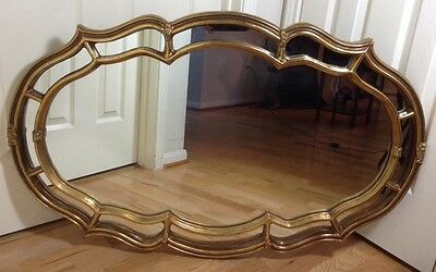 "Gorgeous Large 43"" Vintage Antique Gold French Art Wall Mirror"