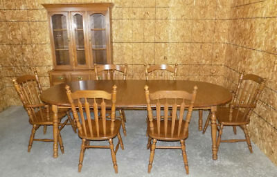 Tell City Tanbark Oak dining table 6 chairs NICE! 3 leaves, 2 arm chairs # 14