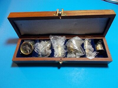 New Vintage Nautical Maritime Brass Miniature 6 Pc Set Collector Wood Gift Box