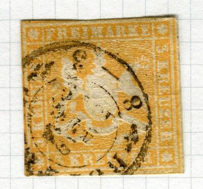 GERMANY; WURTTEMBERG 1857 classic Imperf (silk th.) fine used 3k. value