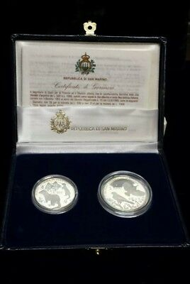 1993 Republic of San Marino Proof 2 Silver Coin Set 500 & 1000 Lire