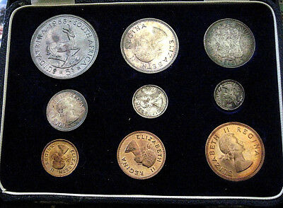 1953 South Africa  Rare  9  Coin Set: 1/4  - 5 Shilling  + Box