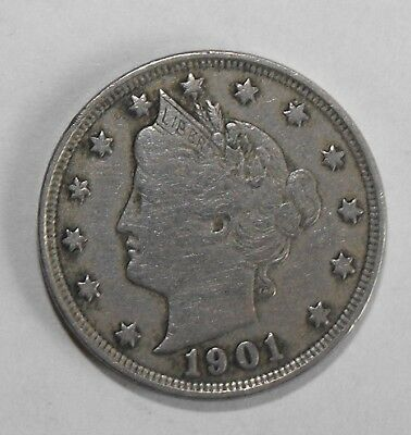 1901 Liberty Head Nickel, Circulated and ungraded