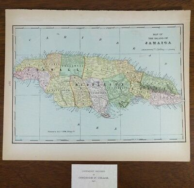 "Vintage 1901 JAMAICA Map 14""x11"" Old Antique Historical NEGRIL PORT ROYALMAPZ"