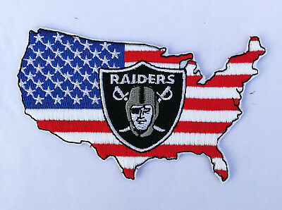 "🔥4"" OAKLAND RAIDERS USA Flag/America Iron-on Logo Jersey PATCH! Raider Nation"