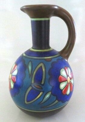 """Vtg 1928 Gouda Holland 6.5"""" Hand Painted Art Pottery Pitcher, Vase, Signed Clio"""