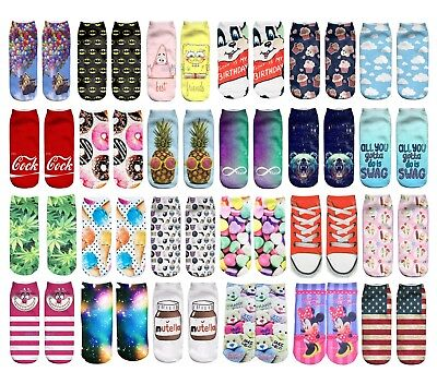 ASSORTED Printed 3D Ankle Socks Low Cut Unisex Cotton Blend Multicolour Sock