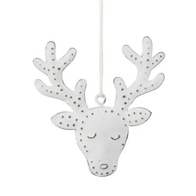 Vintage White Stag Hanging Christmas Tree Decoration Small Metal Plaque
